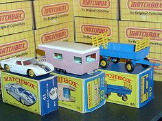 Matchbox Lesney 23d3 Caravan 40c1 Hay Trailer 41 C2 Ford GT40 & Original Boxes - http://www.matchbox-lesney.com/47075