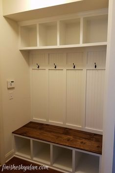 Mudroom bench with beadboard and board & batten back.