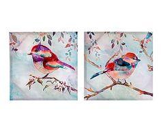 Set de 2 lienzos sobre madera DM Pájaros - 40x40 cm. 36€
