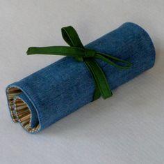 Pencil Roll, Pen Case, art Supply Organizer, Denim and Green, Free US Shipping. $15.00, via Etsy.