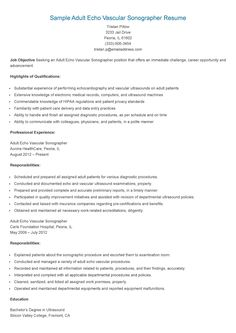 sample adult echo vascular sonographer resume - Ultrasound Resume