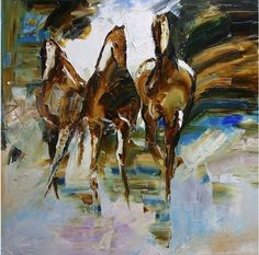 Night Crossing Horse Paintings, Contemporary Palette Knife Paintings by Texas Artist Laurie Pace, painting by artist Laurie Justus Pace
