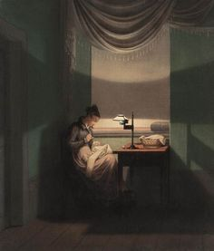 KERSTING, Georg Friedrich Young Woman Sewing by the Light of a Lamp 1823 Oil on canvas, 40 x 34 cm Neue Pinakothek, Munich