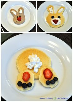 Small Family Big World: Fun Pancakes for Kids - Bunny Pancakes - These would be cute for Easter weekend!