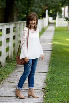 Fall Fashion: Denim and white lace