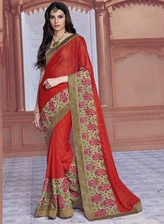 New Red Designer Chiffon Sarees Online Shopping