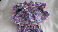 """Purple Sparkle Print Dress/bloomers, fits 12"""" Corolle Tidoo dolls and others"""