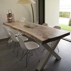Wood & # Shop- Odun' Shop Wood & # Shop - Mutfak – home accessories Steel Table Legs, Wooden Dining Tables, Dining Table Design, Dining Room Table, Childrens Desk And Chair, Palette Deco, Live Edge Furniture, Living Room Inspiration, Shops