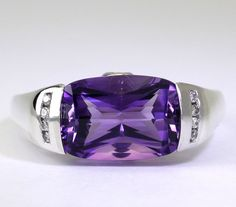Cushion Cut Genuine Amethyst & Diamond Accent Ring in Sterling Silver size 8