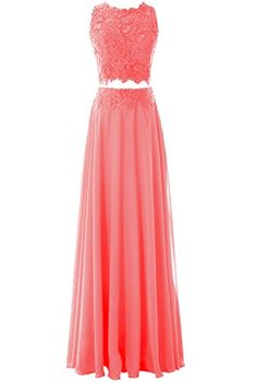 Pretygirl Women's Two Piece Chiffon Lace Evening Dress Lo...