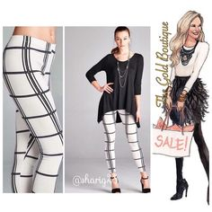 Black & White Leggings  Classic yet edgy. Black & White leggings in a grid pattern print. Elastic waist, made of poly/spandex blend, non-sheer. Black tunic sold separately. 28.5 in inseam. The Gold Boutique Pants Leggings