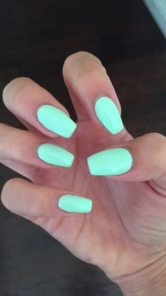 "Coffin nails with Gelish ""do you harajuku"" mint nail color perfect for summer"