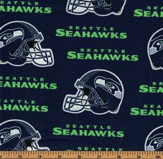 Seattle Seahawks Helmet Football Fabric- NFL - 100% Cotton - by Fabric  Traditions 9383faf31