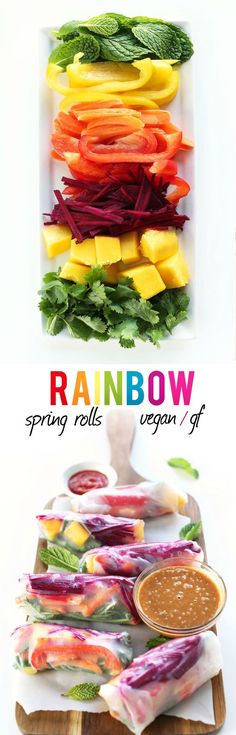 AMAZING, healthy, 30 minute spring rolls with raw fruits and veggies + a GINGER Peanut Sauce! Vegan and Gluten free!