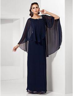 Vestido de Noche de Gasa Largo Negro @ Vestidos de Fiesta Baratos