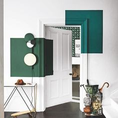 """Thank you @LivingetcUK for featuring in the background """"Palais Royal"""" wallpaper from Christian Lacroix Maison """"Incroyables et Merveilleuses"""" new home collection. Glorious geometrics! #christianlacroix #christianlacroixmaison #editorial #green #geometric #livingetc"""