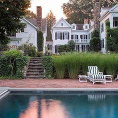 Brick patio / classic architecture / classic exterior / White House black shutter / exterior paint color