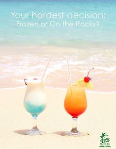 Caribbean Cocktails... Frozen or on the Rocks?  http://beachblissliving.com/beach-summer-drinks-tropical-blue/