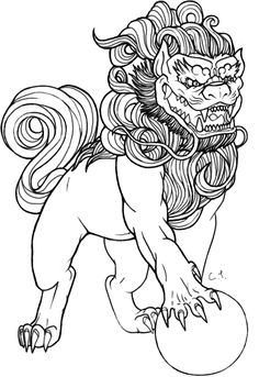 Foo Dog Lineart by ctyler.deviantart.com on @deviantART