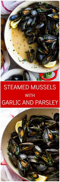 Steamed Mussels with Garlic and Parsley - only 8 ingredients to make the BEST tasting steamed mussels! | littlebroken.com @littlebroken
