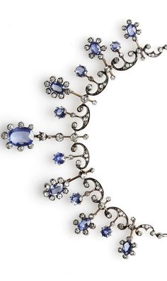 Early 20th c sapphire & diamond necklace/tiara ✿⊱╮