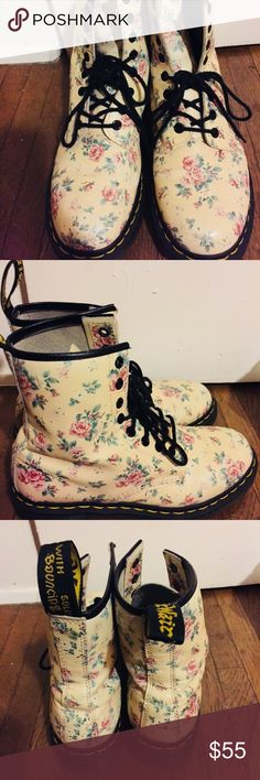 Authentic Dr. Martens - Flower Light pink boots with flowers, Worn a few times due to them being my favorite. Feel free to check out all the pictures. Any questions or additional information please comment! Thanks. Dr. Martens Shoes Combat & Moto Boots