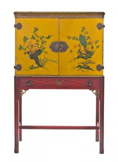 A Chippendale Style Chinoiserie Decorated Cabinet on Stand