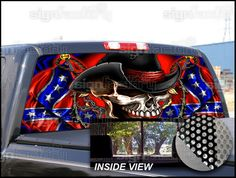 Picture Of Confederate Rebel Flag Rear Window Graphic Decal For - Redneck window decals for trucks