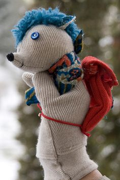 Hedgehog with Bag Hand Puppet | by Handmade Goodies