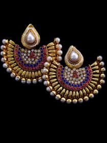 Latest polki earrings with sapphire & Pearls.
