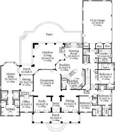 I think this could be my dream home floor plan! Although I'd enlarge the master room, the closets and, a much bigger master bath. I'd add on a library and, maybe a second office. Add a second story with a terrace! What a great floor plan! 4 Bedroom House Plans, Dream House Plans, House Floor Plans, My Dream Home, Dream Homes, The Plan, How To Plan, Plan Plan, House Layouts
