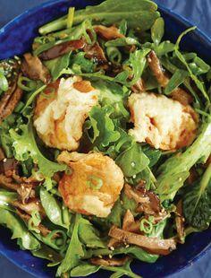 Sweet Potato Tempura Salad Recipe. Lacy and crispy fried sweet potato tempura is a warm contrast to this cool salad.