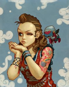 cute anime pin up girl art workwith robot  by deseo inspired by graffiti arm tattoos bling and artist katsuya terada