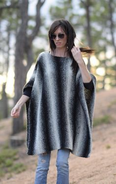Easy Knit Poncho Pattern, Aspen Relaxed Knit Poncho Pattern, Easy Knitting Pattern, Black & White Knitting Pattern, Beginner Knit Poncho – Knitting For Beginners Knitting Terms, Poncho Knitting Patterns, Knitted Poncho, Knitted Shawls, Crochet Shawl, Knit Patterns, Free Knitting, Knit Crochet, Crochet Pattern