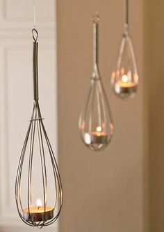 Transform whisks to some cute tealight holders | Top 24 Fascinating Hanging Decorations That Will Light Up Your Living Space