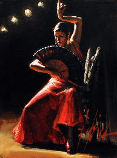 Learn Flamenco!. Pintura de Fabian Perez - Celina con Abanico