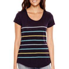 Liz Claiborne® Short-Sleeve Striped T-Shirt  found at @JCPenney