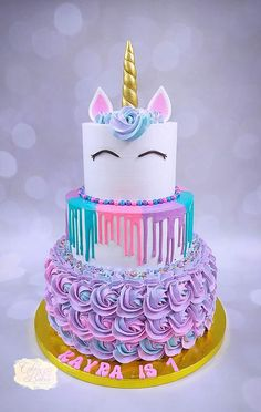 Unicorn Cake by Cakes & Bakes by Asmita – kids baking ideas Diy Unicorn Cake, Unicorn Cake Pops, Unicorn Rainbow Cake, How To Make A Unicorn Cake, Rainbow Cakes, Cute Birthday Cakes, Unicorn Birthday Parties, Birthday Kids, Unicorn Party