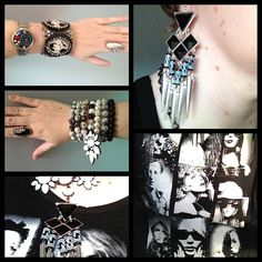 Black and white fashion model top from Kmart, bracelet stack and necklace by Jewel Divas,
