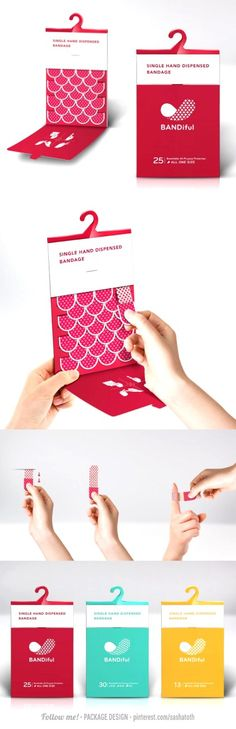 """The project named """"Bandiful"""". For the first time in The Dieline Package Design Awards Vivi Feng & Yu-Ping Chuang created an innovative solution to a common problem, the challenge of using a single hand to apply a bandage."""