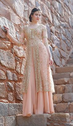 Coral light net and georgette lehengas with machine and hand embroideries. These will be customized to your size, will help you personally with your measurements Pakistani Party Wear Dresses, Pakistani Wedding Outfits, Designer Party Wear Dresses, Indian Gowns Dresses, Indian Bridal Outfits, Indian Fashion Dresses, Pakistani Dress Design, Indian Designer Outfits, Bridal Anarkali Suits