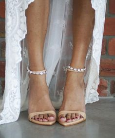 Grace Loves Lace | The gorgeous, delicate Venus anklet paired with the edgy and sophisticated Dosa heel is the perfect combination for our brides who favour refined femininity with a hint of raw glamour. This combination is the epitome of practical, understated elegance. Perfect wedding shoes for the chic boho bride. Shop now www.graceloveslace.com.au #weddingheels #weddingshoes #bridal #statementshoe