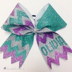 "Cheer bow of the day. by @kallysbowtique ""Custom Olivia Bow #glitter #cheerbows #custom #chevron"" #sparkle#glitter#cheerbow#hairbows#bows#cheerleader#allstar#ribbon#bows#dance"