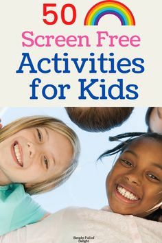 Here's 50 Screen free activities for kids! There's ideas for indoor play, kitchen fun, sensory play, outside fun and more. Get some inspiration now