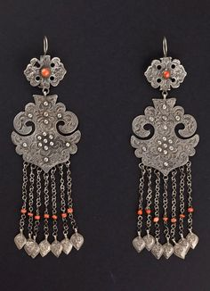 China ~ Uygur Autonomous Region of Xinjiang or Central Asia | Pair of earrings; silver and coral | ©Hawah, via ethnic jewels (now part of the Truus and Joost Daalder collection)
