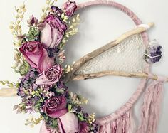 Dried Flowers Dreamcatcher Boho Dream Catcher von MeadowandMoss