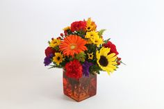 """Tuscan Cube A 4.75"""" square orange vase holds an all around mounded arrangement with two roses, a gerbera daisy, a sunflower, carnations, alstroemeria, spray roses, viking poms, hypericum, statice and solidago.  12""""H x 11""""W Item# 1158 Two Roses, Spray Roses, Gerbera, Carnations, Fathers Day, Cube, Daisy, Orange, Kitchen"""
