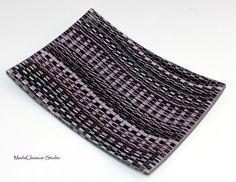 Good N Plenty Fused Glass Tapestry Plate by MadaGlasscarStudio