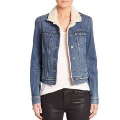 PAIGE Leo Denim Jacket With  Shearling Collar ($290) ❤ liked on Polyvore featuring outerwear, jackets, apparel & accessories, blue, blue denim jacket, denim jacket, denim fur jacket, jean jacket and fur jean jacket