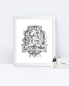 Gryffindor Crest Black And White Harry Potter Watercolor Harry